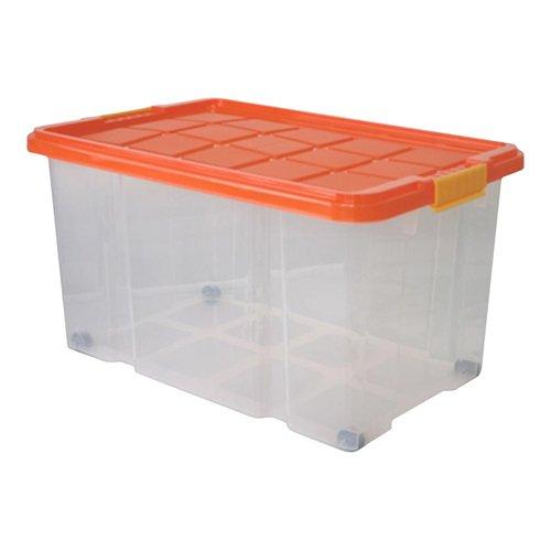 Axentia Universalbox auf Rollen, Aufbewahrungsbox mit Deckel, Clipbox, 55 Liter Fassungsvermögen,farblich sortiert, Aufbewahrungsbehälter,Multibox 60 x 40 x 34 cm, drehstapelbar, Ordnungssystem für Kinderzimmer, Garage, Abstellraum oder Keller