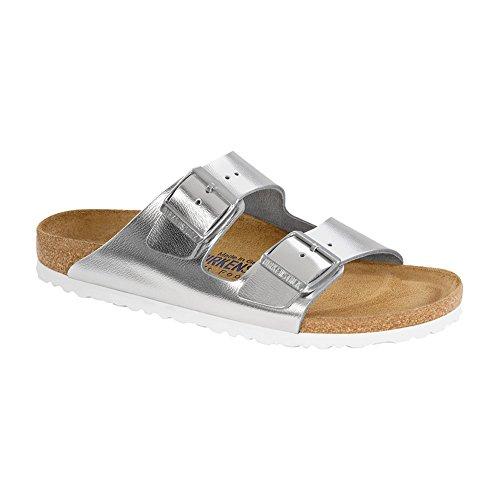 Birkenstock Womens Arizona Soft Footbed Silver Metallic Sandal w8xEsi
