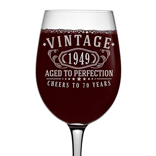 (70th Birthday Etched 16oz Stemmed Wine Glass - Vintage 1949 Aged to Perfection - 70 years old gifts)