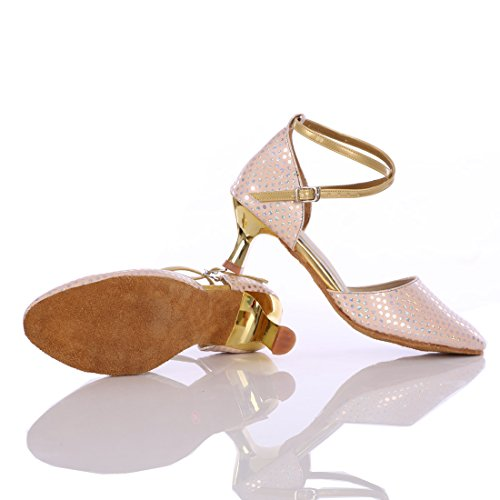 De Vashcamer Rosa Mujer Tacón Baile Zapatos Para zqwxq5fr