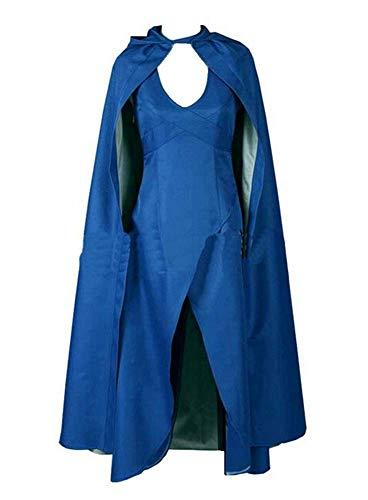 551 - Game of Thrones Daenerys Targaryen Cosplay Blue Dress with Cloak (2) M
