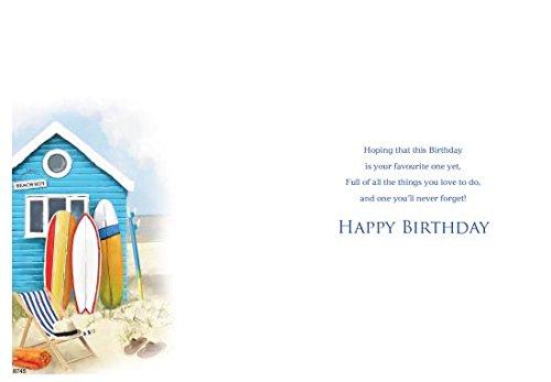 Tarjeta de felicitación (icg4504) - cumpleaños - azul, diseño de caseta de playa y tablas de surf - Lámina acabado: Amazon.es: Oficina y papelería