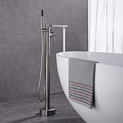 Wowkk Freestanding Tub Filler Bathtub Faucet Single Handle Floor Mount Faucets With Hand Shower