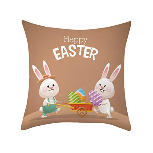 LNGRY Pillow Covers, Happy Easter Eggs Rabbit Bunny Printed Pattern Polyester Pillow Case Sofa Car Cushion Cover Home Decor 45x45cm (A1, 45x45cm/18x18