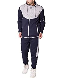 Mens Contrast Panel Fleece Tracksuit Hoodie Bottom Set