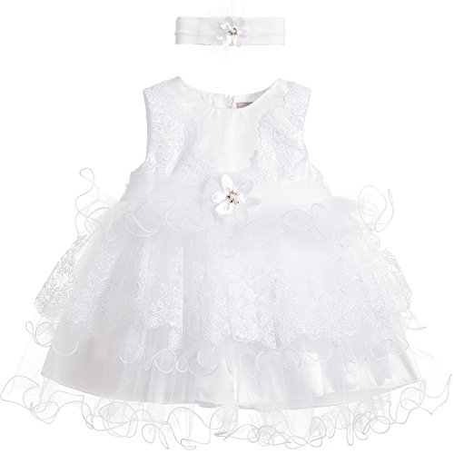 Michealboy Baby Girl Embroidery Flower Muti-Tier Baptism Gown Dress