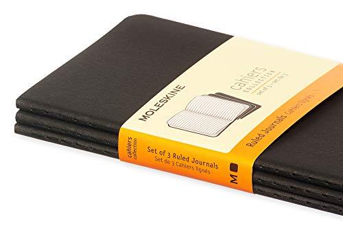 "Moleskine Cahier Journal, Soft Cover, Pocket (3.5"" x 5.5"") Ruled/Lined, Black (Set of 3)"