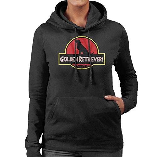 Golden Retrievers Jurassic Park Logo Mix Women's Hooded Sweatshirt