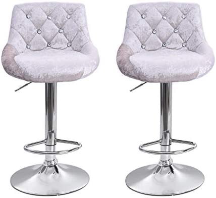 US Fast Shipment Quaanti Bar Stools Barstools Swivel Stool Set of 2 Height Adjustable Bar Chairs with Back Flannel Swivel Bar Stool Kitchen Counter Stools Dining Chairs with Chrome Base Silver