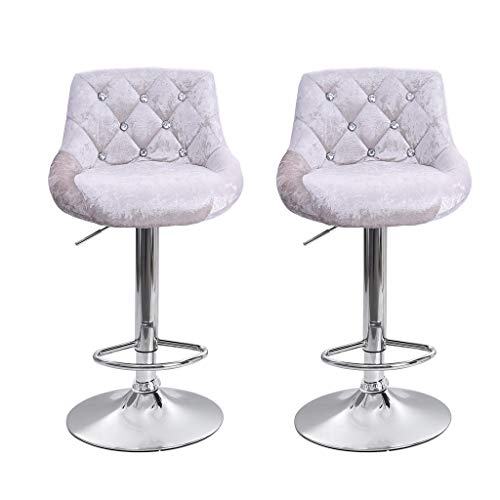 JinJin Best Office Bar stools Height Adjustable Flannel Swivel Back Kitchen Counter Stools Bar Dining Chairs Set of 2 Height Swivel Stool (Silver) (Chairs Counter Bar)