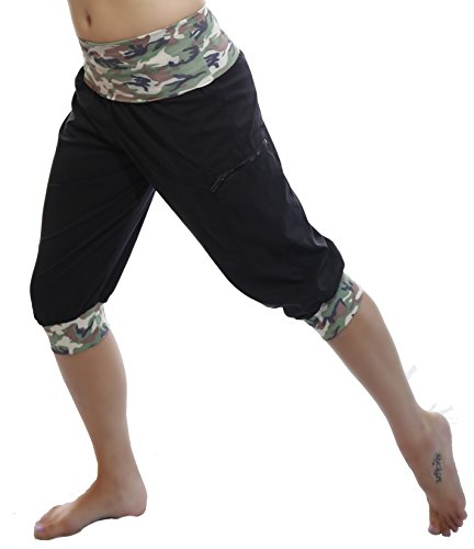 Fitness Workout Exercise Cargo Capri Pants (Brown Camo)