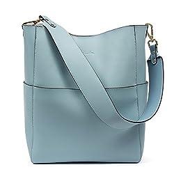 Bostanten Women S Leather Designer Handbags Tote Purses Shoulder Bucket Bags Light Blue