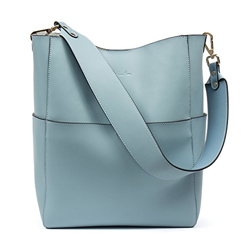 (BOSTANTEN Women's Leather Designer Handbags Tote Purses Shoulder Bucket Bags Light Blue)