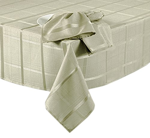Elegance Plaid No-Iron Soil Resistant Fabric Woven Tablecloth - 60 X 144 Oblong - (60