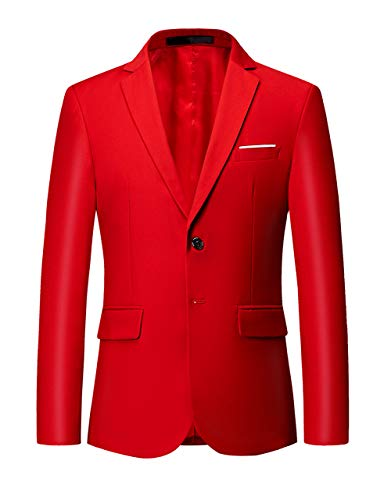 (MOGU Mens Suit Jacket Slim Fit Single Breasted Two Button 10 Colors US 30 Asian M Red)
