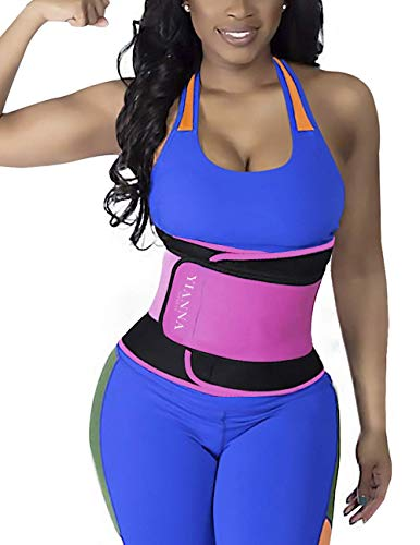 YIANNA Waist Trainer Slimming Body Shaper Belt - Sport Girdle Waist Eraser Trimmer Compression Belly Weight Loss Fitness Tummy Control, YA8011-Rose-M