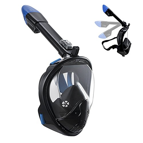WSTOO 2018 Newest Foldable Full Face Snorkel Mask,180° Panoramic Wide View Snorkel Mask,Dry Top...
