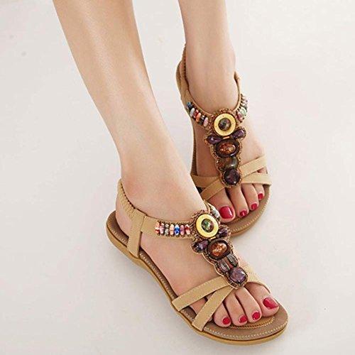YANG-YI Clearance Fashion Beaded Clip Toe Flats Bohemian Herringbone Sandals (Khaki, US-9.5) by YANG-YI Sandals (Image #3)
