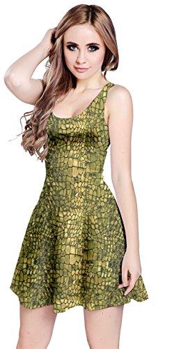 CowCow Womens Green Leather Animal Snake Reptile Crocodile Pattern Sleeve Dress, Green - XL