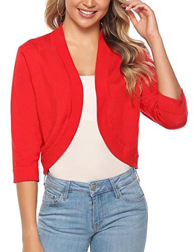 iClosam Women Open Front Cardigan 3/4 Sleeve Long Sleeve Cropped Bolero Shrug (Red_2, XX-Large)