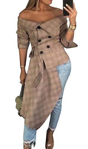 KLJR Women Off The Shoulder Irregular Button Up Long Sleeve Plaid Print Shirt Tops Khaki US XL ()