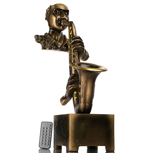Frisby Decorative Home Decor Sculpture Jazz Saxophone Player Statue Rechargeable Speaker w/Bluetooth & USB & miniSD & Remote Control