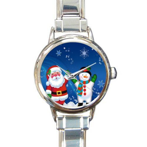 Personalized Watch Funny Father Christmas with Snowman Round Italian Charm stainless steel Watch