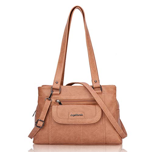 Angel Barcelo Womens Fashion Handbags Tote Bag Cross Body Shoulder Bag Top Handle Satchel Purse Brown