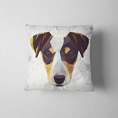 CELYCASY Geometric Jack Russell Terrier Decorative Throw Pillow Case Pillow Cover Pillowcase Birthday Gift Idea Dog Gift Jack Russell Pet Lover Gift