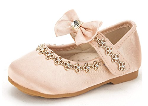 DREAM PAIRS SOPHIA-55 Adorables Casual Mary Jane Front Bow Hook and Loop Ballerina Flat Toddler New Gold Size 9]()