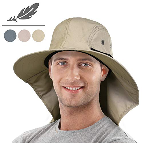 6f22ccfc52866 Tirrinia Outdoor Sun Protection Fishing Cap with Neck Flap Wide Brim Hat  for Safari Hiking Hunting Boating and Outdoor Adventures