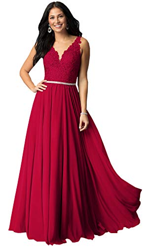 (Sleeveless Lace Bodice Chiffon Bridesmaid Dresses Long Formal Party Prom Gown (Deep Red,16))