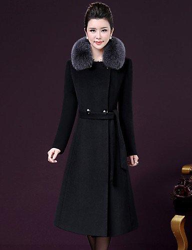 女性と 039 ; s外出プラスサイズの洗練された秋冬のコート、立体ロングスリーブロングカシミアポリエステル,3 xl,ブラック B077RXQ5SR