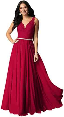 929e65388927 Women's A Line V Neck Lace Bodice Chiffon Prom Dresses Long Formal Evening  Gown