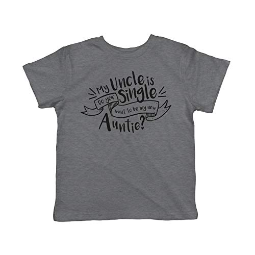 Toddler My Uncle is Single Tshirt Cute Sarcastic Family Tee for Kids (Dark Heather Grey) - 4T