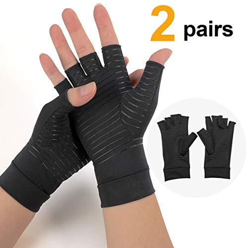 2 Pairs of Copper Arthritis Compression Gloves for WomenMen,High Copper Infused Compression Gloves for Pain Relief Rheumatoid Osteoarthritis and Carpal Tunnel, Typing and Daily Work reviews
