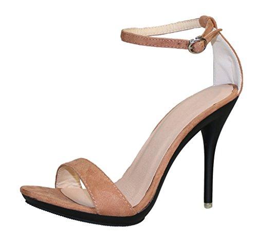 Heel Party Dress Wedding Open Toe Strap light velveteen Ankle High Womens Sandal brown wgXTx8nn