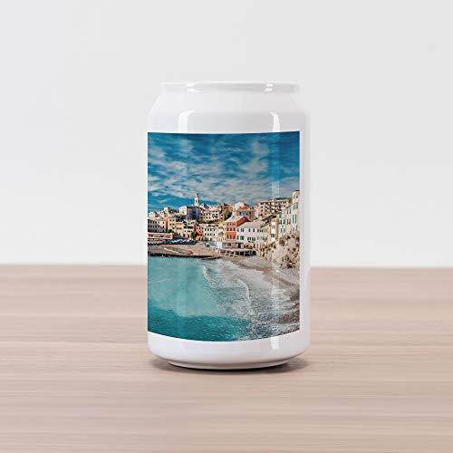 (Ambesonne Italy Cola Can Shape Piggy Bank, Panorama of Old Italian Fishing Village Beach in Old Province Coastal Charm Image, Ceramic Cola Shaped Coin Box Money Bank for Cash Saving, Turquoise )