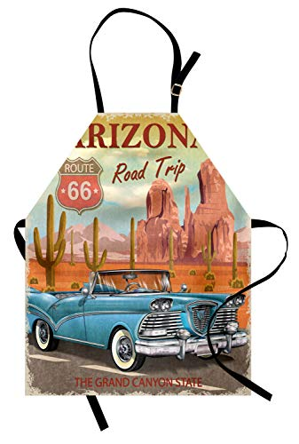 Lunarable Route 66 Apron, Arizona Road Trip with Scenic Grand Canyon Backdrop and Cactus Plants Retro Print, Unisex Kitchen Bib Apron with Adjustable Neck for Cooking Baking Gardening, Blue Orange