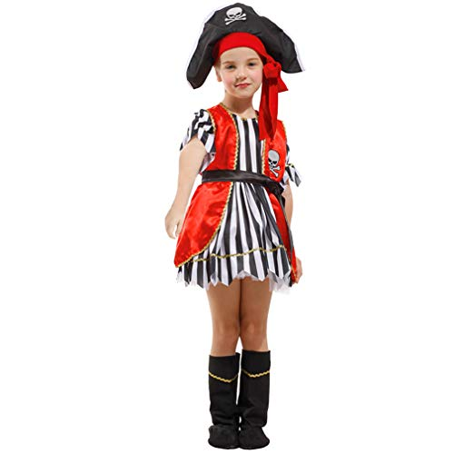 Spooktacular Girls' Red Pirate Costume Set with Dress and Hat, M
