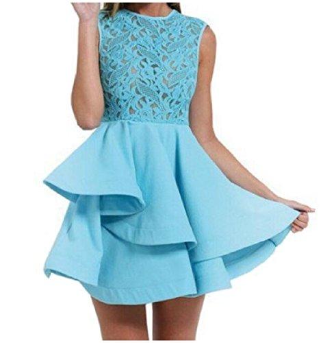 Dresses Women Coolred Hem Blue Mini Swing Short Slim With Asymmetric fx8dr8nqTw