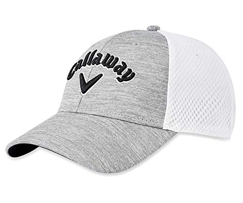 Callaway Golf 2019 Mesh Fitted Hat, Light Grey/White/Black, Large/X-Large