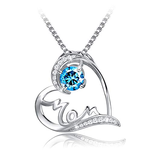 (Mother's Birthday Gift I Love You Mom S925 Sterling Silver Heart Pendant Necklace (Mom))