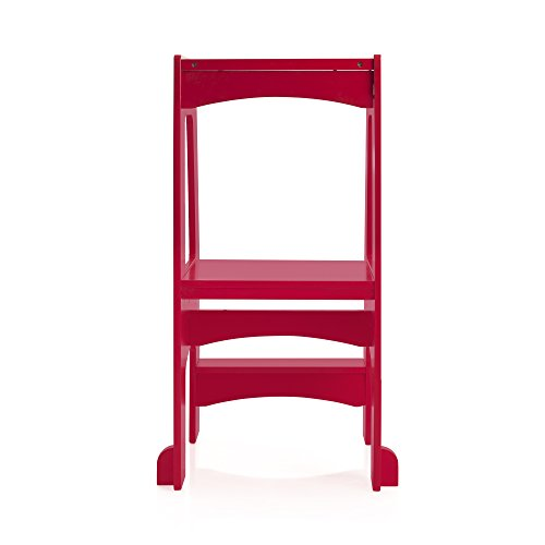 Guidecraft Step Up Kitchen Helper - Red: Kitchen Adjustable Height Wooden Step Stool For Toddlers - Kids Furniture