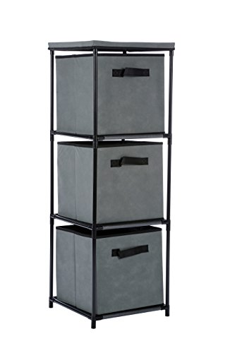 Homebi 3-Drawer Storage Chest Shelf Unit Storage Cabinet Multi-Bin Organizer with Removable Non-woven Fabric Bins in Grey,13.2