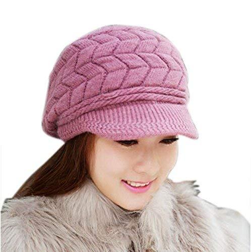 New Women Hats for Winter,Teen Girls Warm Wool Snow Ski Skull Soft Beanie Cap Headgear Knit Berets Headbands Outdoor Purple (Snowboard Cap Ski Beanie Skull)