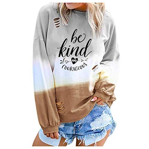 [해외]Thenxin Casual Crewneck Long Sleeve T Shirt for Women Gradual Tie Dye Colorblock Print Pullover / Thenxin Casual Crewneck Long Sleeve T Shirt for Women Gradual Tie Dye Colorblock Print Pullover(Khaki,M)