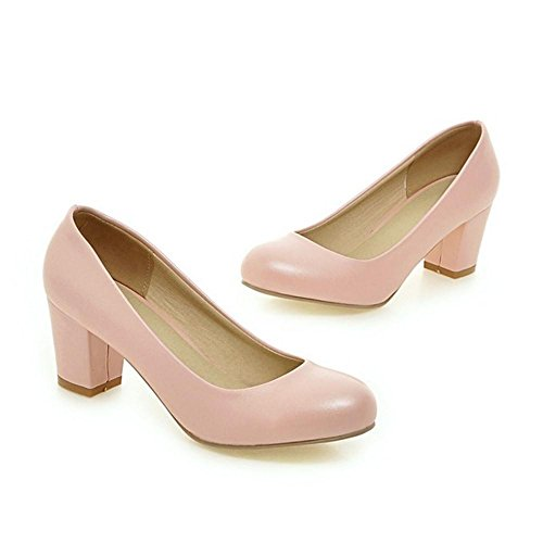 Toe Shoes Pumps Closed Pink Women Comfort TAOFFEN wFq7tzR