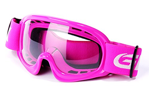 GLX GX08 youth & kids Motocross/ATV/Dirt Bike/Airsoft Safety Goggles, ANSI Z87.1 Certified (Pink) - Anti-Fog, UV Protection, -