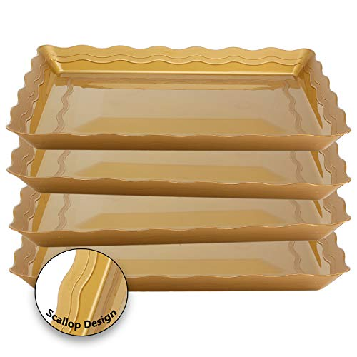 (4 Pack Rectangular Plastic Trays, Heavyweight Disposable Serving Party Platters, 9
